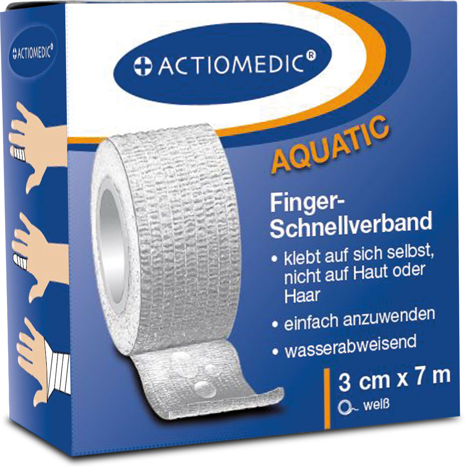 ACTIOMEDIC® AQUATIC  Schnellverband, weiß, 3 cm x 7 m, selbsthaftend}